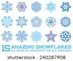 Set Of Snowflakes Fractals Or...
