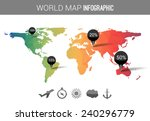 vector 3d world map with points ... | Shutterstock .eps vector #240296779