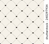Seamless geometric pattern with hearts. Vector repeating texture. Dotted rhombuses from small circles and hearts in nodes