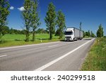 road lined with poplar alley in ...   Shutterstock . vector #240299518