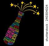 Happy New Year Champagne Bottl...