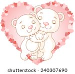 two very cute polar bears in... | Shutterstock . vector #240307690