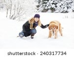 woman and golden retriever | Shutterstock . vector #240317734