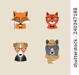 Hipster Animals Set Of Vector...