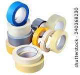 Office supplies, a set of rolls adhesive tape, paper, plastic, various colors and thickness for various purposes, isolated on white background - stock photo