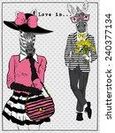 Romantic Card With Zebra Male...