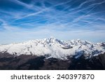Mont Blanc in a sunny day, seen from the south side, Bourg Saint Maurice, Savoie, France