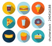 set of fastfood flat icons | Shutterstock .eps vector #240416188