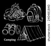 sketch camping set in vintage... | Shutterstock .eps vector #240481840