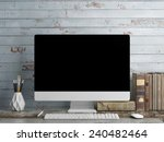 mock up pc screen  blue plank... | Shutterstock . vector #240482464
