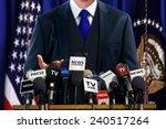 politician at press conference | Shutterstock . vector #240517264