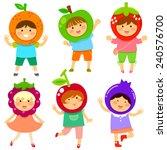 cute kids dressed like fruit | Shutterstock . vector #240576700