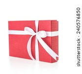 christmas red gift box isolated ... | Shutterstock . vector #240576850