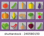 vegetable flat icon set. the... | Shutterstock .eps vector #240580150
