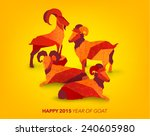 oriental chinese new year goat... | Shutterstock .eps vector #240605980