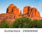 Scenic Cathedral Rock formation at Oak Creek in Sedona Arizona