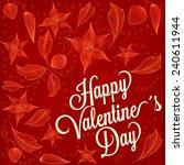 floral retro valentine's day...   Shutterstock .eps vector #240611944