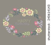 vintage floral card  birthday | Shutterstock .eps vector #240614143