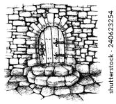 arched door in a stone wall  ... | Shutterstock .eps vector #240623254