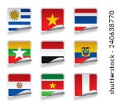 set of world sticker flags.... | Shutterstock . vector #240638770