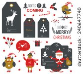 set of christmas lettering and... | Shutterstock .eps vector #240647740