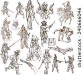 warriors   collection  no.4  of ... | Shutterstock . vector #240666046