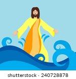 jesus christ walking on the...