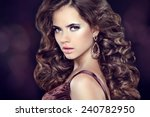 wavy hair. attractive girl with ... | Shutterstock . vector #240782950