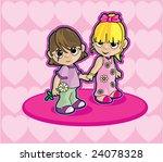 two girls holding hands | Shutterstock .eps vector #24078328