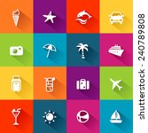 summer and travel icons in... | Shutterstock .eps vector #240789808