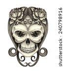 art skull day of the dead. hand ...   Shutterstock . vector #240798916