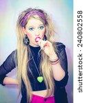 beautiful blond girl in... | Shutterstock . vector #240802558