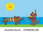 funny dog and cat  water fun  ...   Shutterstock .eps vector #240808138