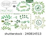 set watercolor wreaths and... | Shutterstock .eps vector #240814513