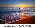 beautiful sunrise with ocean... | Shutterstock . vector #240818398