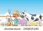 farmer and animals | Shutterstock . vector #240835183