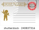 valentine postcard  letter   Shutterstock .eps vector #240837316