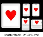mobile devices with poker...   Shutterstock .eps vector #240843490