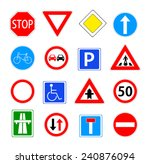 traffic sign collection. red ... | Shutterstock .eps vector #240876094
