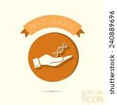 hand holding a dna helix.... | Shutterstock .eps vector #240889696