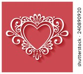 vector deco floral heart on red ...