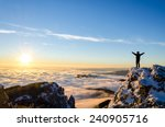 hiker celebrating success on... | Shutterstock . vector #240905716