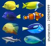 Set Of Tropical Fish. Vector...