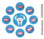 cartoon smiling tooth with set... | Shutterstock .eps vector #240950596