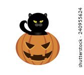 abstract pumpkin and black cat... | Shutterstock .eps vector #240955624