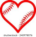 red heart with baseball laces.... | Shutterstock .eps vector #240978076