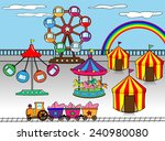 amusement park cartoon | Shutterstock .eps vector #240980080