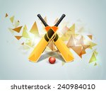 shiny bats with red ball on... | Shutterstock .eps vector #240984010