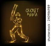 golden illustration of batsman... | Shutterstock .eps vector #240986989