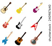pixel art guitar collection | Shutterstock .eps vector #240987640